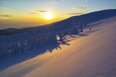 snowfield: Snowfield dyed to sunset