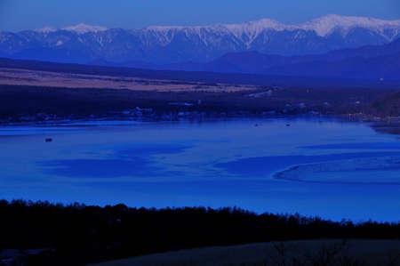 amanecer: Yamanakako del amanecer y los Alpes del Sur