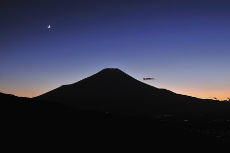 crescent: Crescent Moon and Mt. Fuji Stock Photo