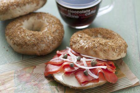 ベーグル サンドイッチ 写真素材