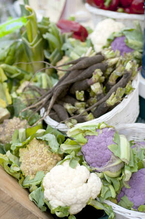 over the counter: Display vegetables Stock Photo