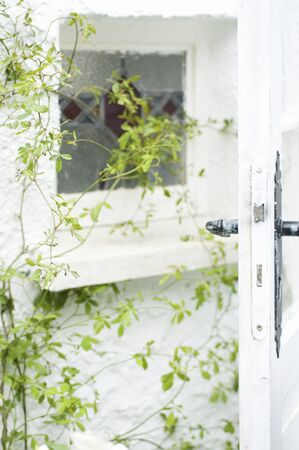 windows and doors: White windows and doors Stock Photo