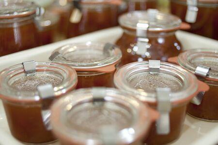 bottling: Bottling of apricot jam