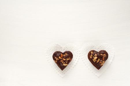heartshaped: Heart-shaped gateau chocolat of