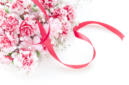 florid: Carnations and Ribbon Stock Photo