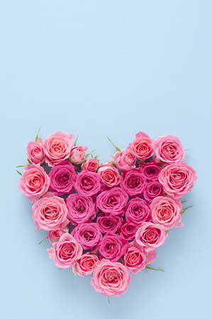 Heart-shaped pink roses
