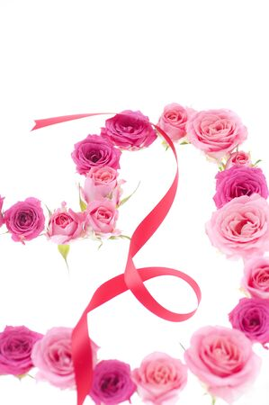 whitebackground: Rose Heart and ribbon