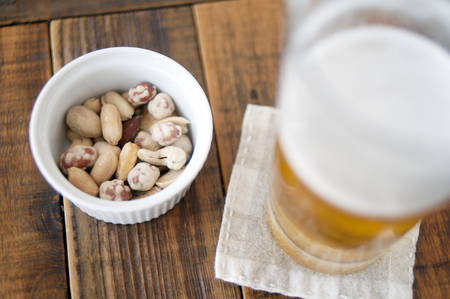 mixed nuts: Beer and mixed nuts Stock Photo