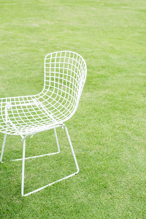lawn chair: Lawn and white chair