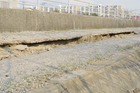 earthquake crack: In urayasu, East Japan earthquake damage Stock Photo