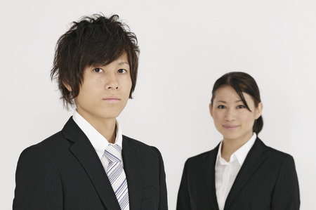 despatch: Young businessmen and OL Stock Photo