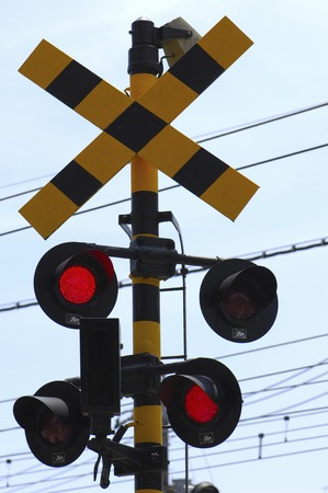 flashing: Display and a red flashing railroad crossing Stock Photo