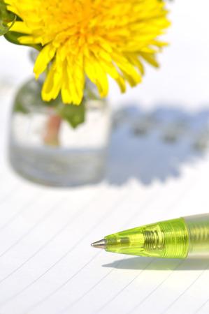 ballpoint: Dandelion bud vase and a ballpoint pen