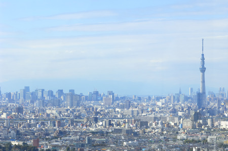 i hope: I hope the Tokyo Sky Tree from Ichikawa outlook building Stock Photo