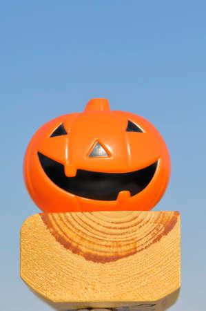 jack'o'lantern: Jack-O-Lantern on a piece of wood