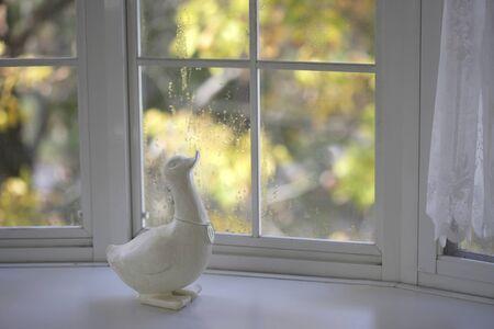 windowsill: Autumn white windowsill and wooden duck Stock Photo