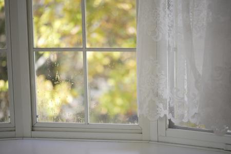 windowsill: Autumn visible from white windowsill Stock Photo