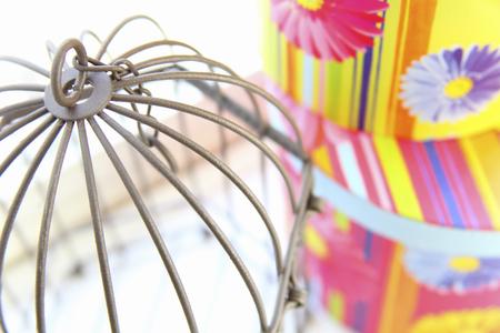 birdcage: Colorful round BOX and birdcage Stock Photo