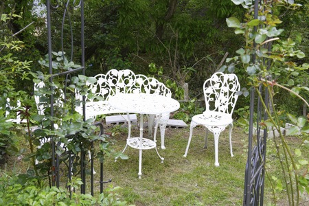 garden furniture: Garden furniture white table and chairs Stock Photo