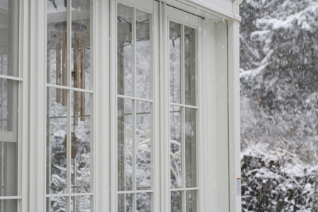 conservatory: Conservatory of snow in the garden Stock Photo