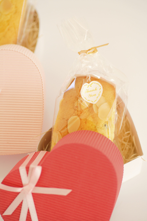 heart gift box: Heart gift box with homemade cupcakes Stock Photo