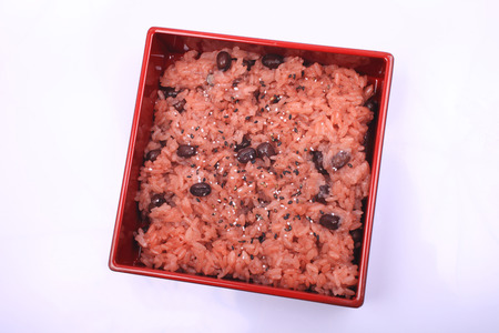 entered: Red rice entered the food Stock Photo