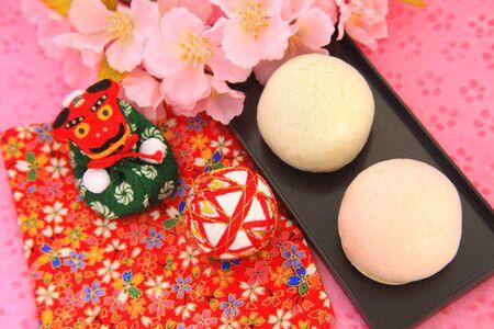 bollos: Red and white buns Foto de archivo
