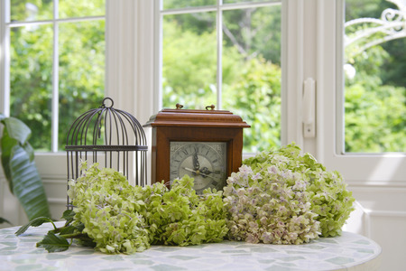 table decoration: Antique clock and hydrangea flowers