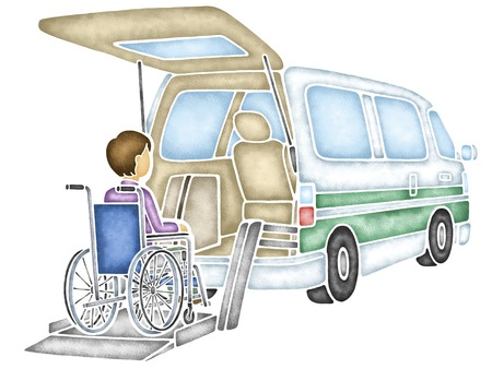 specification: Wheelchair specification car and wheelchair Stock Photo