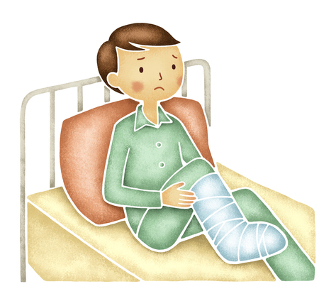 hospitalization: Men have a bandage on his right leg Stock Photo