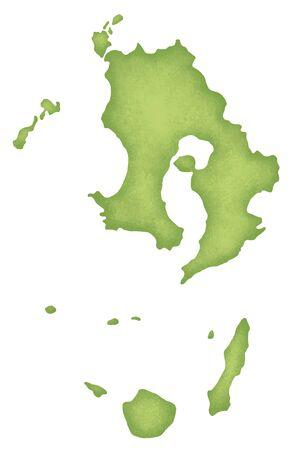 kyushu: Kagoshima Prefecture map Stock Photo