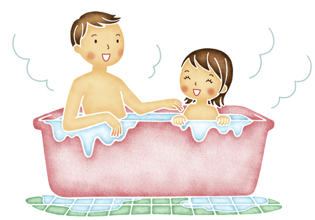 steam bath: Father and daughter take a bath Stock Photo