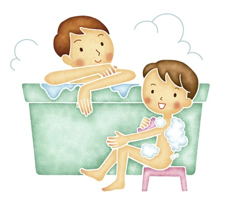 steam bath: Father and son take a bath