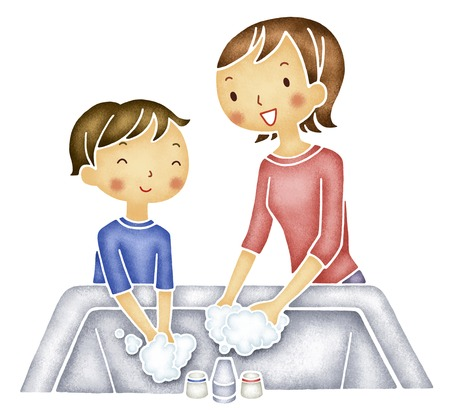wash your hands: Mother and son wash your hands