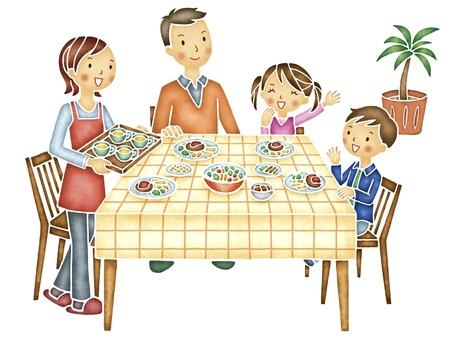 家族とダイニング テーブル