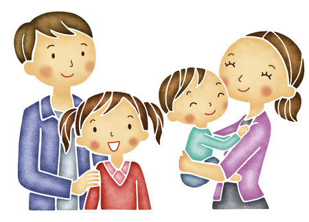 asian family: A family of four of smile Stock Photo