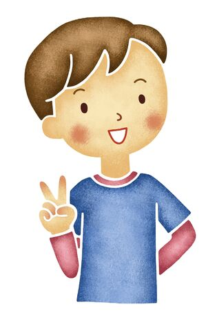 asian family: Boy of peace sign