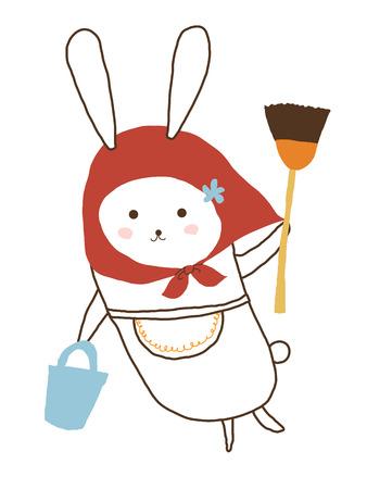 housekeeper: ama de llaves de conejo Foto de archivo