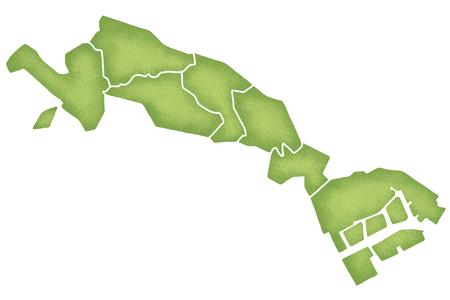 kanto: Kawasaki border containing map Stock Photo