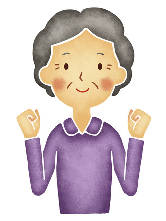 guts: Grandmother to the guts pose Stock Photo