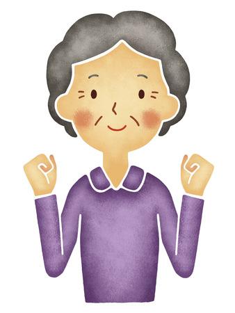 Grootmoeder om het lef pose Stockfoto
