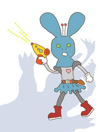 ray gun: Space Rabbit Stock Photo