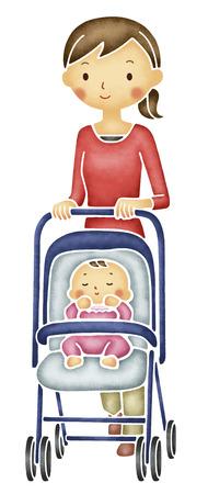 push: Mom to push stroller Stock Photo