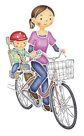 put: Mom riding a bicycle and put the child