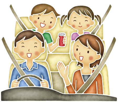 dad son: Family of four to drive Stock Photo
