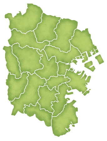 Yokohama border containing map Stock Photo