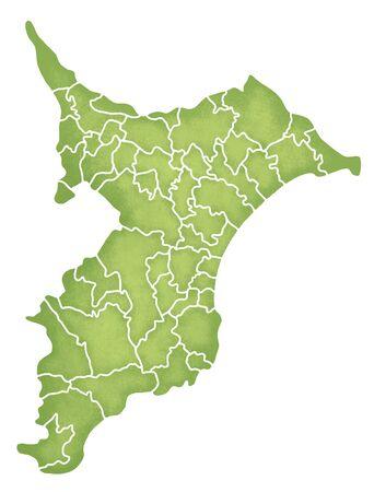 Chiba Prefecture border containing map Stock Photo