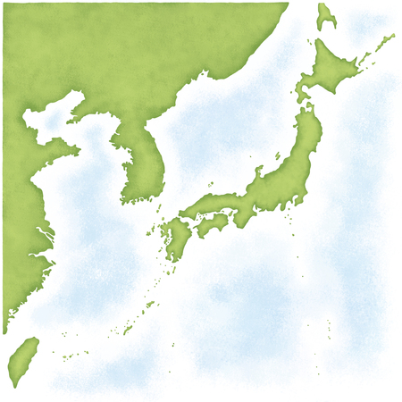 Japan map of South Korea, North Korea, Taiwan and China into