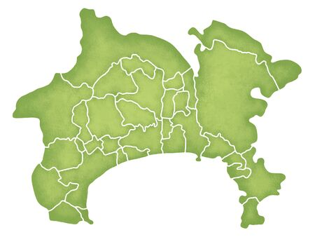Kanagawa Prefecture border containing map Stock Photo