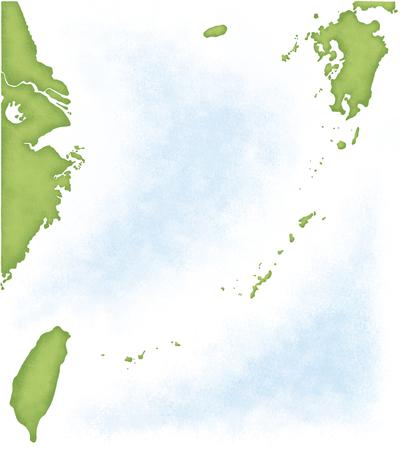 far east: Kyushu-Okinawa map of Taiwan and China into Stock Photo